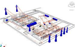 Рис. 4. Проект ОРУ, реализованный в Model Studio CS Открытые распределительные устройства