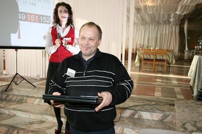 Счастливый обладатель главного приза - Саргин Алексей Юрьевич, зам. директора по проектно-экспертным работам ООО «Ремспецстрой»
