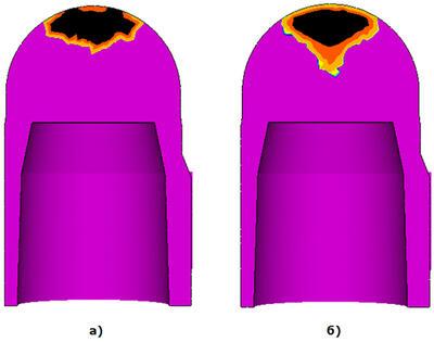 СКМ ЛП «ПолигонСофт» 13.4. Сравнение формы усадочной раковины: а) стандартная модель МАКРО; б) новая модель МАКРО