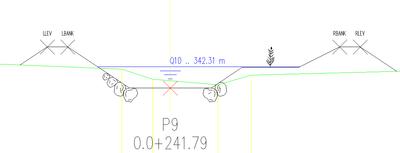 Пример поперечного очертания с данными HEC-RAS