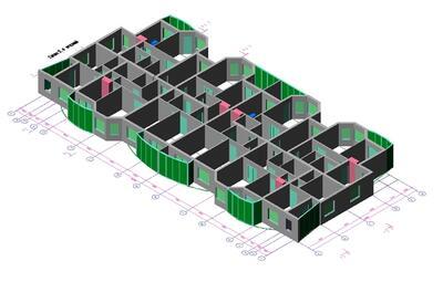 Пример трехмерной модели типового этажа