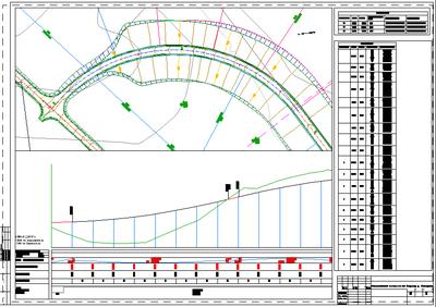 Чертеж в AutoCAD Civil 3D 2010 с фрагментами плана и разреза