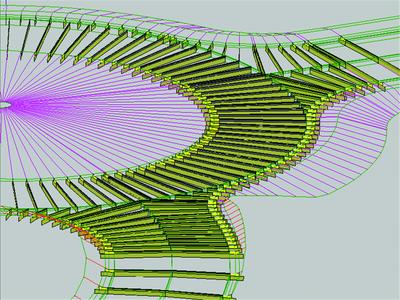 3D-представление нескольких коридоров, созданных в критериях для проекта транспортной развязки