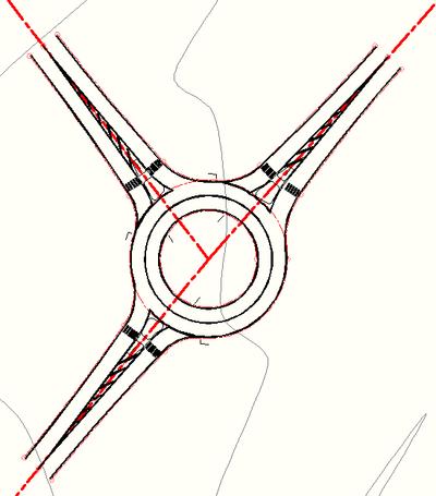Модель кругового перекрестка в Civil 3D