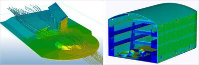 Инструменты изучения воздействия ветра (слева) позволяют оптимизировать использование экологических ресурсов при проектировании естественной вентиляции, уменьшении вторичного вовлечения отработанного воздуха и повышении качества воздуха в помещениях. Инструменты моделирования солнечных нагрузок (справа) можно использовать для проектирования помещений, соответствующих уникальным требованиям для роста определенных видов растений, когда нужно уделять особое внимание освещению, температурному режиму и воздушным потокам.