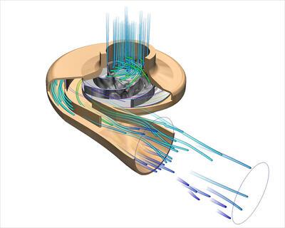 Autodesk Simulation CFD позволяет моделировать насосы с одиночным и двойным всасыванием, с одним и двумя нагнетателями, а также с различными конфигурациями насосного колеса: радиальной, осевой либо смешанного типа.
