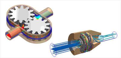 Моделирование работы насосов в Autodesk Simulation CFD Motion варьируется от объемных шестеренных насосов (пример показан на рисунке слева) до многоступенчатых насосов (например, двуступенчатый штанговый скважинный насос, показанный на рисунке справа).