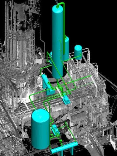 Автоматическая трассировка трубопроводов с учетом отсканированного существующего объекта