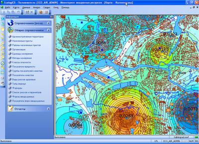 Карта загрязнения воздушных ресурсов