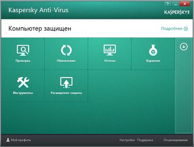 Список наиболее востребованных функций защиты доступен из главного окна программы