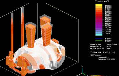 Распределение поля температур при кристаллизации крупногабаритной корпусной отливки (ОАО Старооскольский металлургический комбинат)