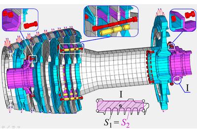 Динамическая КЭ модель сборного ротора: 56 598 степеней свободы, 31 контактная поверхность (Иркутский государственный технический университет)