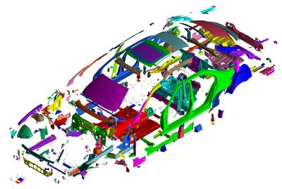Создание КЭ-модели кузова автомобиля: несколько сотен деталей, несколько тысяч сварных точек, шовная сварка, клеевые соединения, болтовые и заклепочные соединения