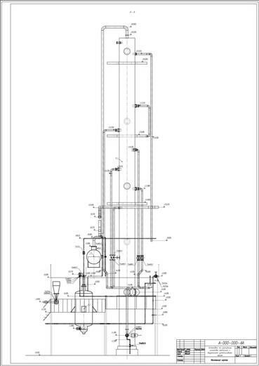 Пример общего вида установки с автоматически проставленными отметками, выполненный в Model Studio CS