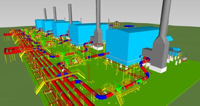 Пример проекта, выполненного в PLANT-4D PIPE