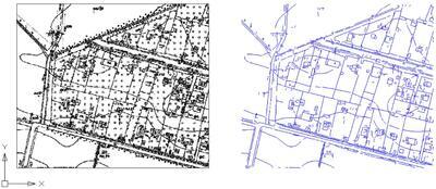 Растровый и трассированный (векторизованный) план территории