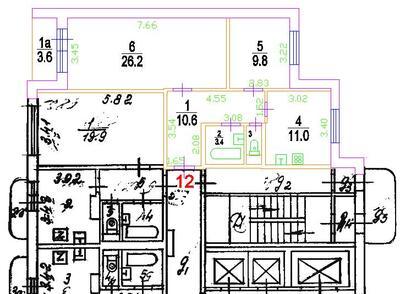 Чертеж плана этажа, выполненный по смешанной технологии