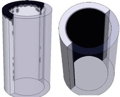 Усадка при гравитационном литье (слева) и центробежном литье (справа)