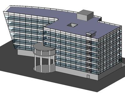 Модель здания, спроектированная в Revit Architecture