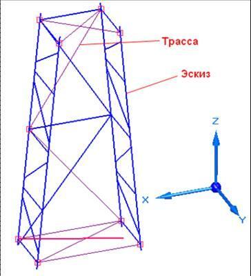 Рис. 26. Трасса и эскиз - средства построения каркаса рамной конструкции