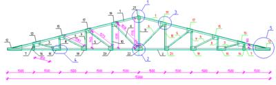 Фрагмент чертежа металлических конструкций, где позиции элементов являются универсальными маркерами