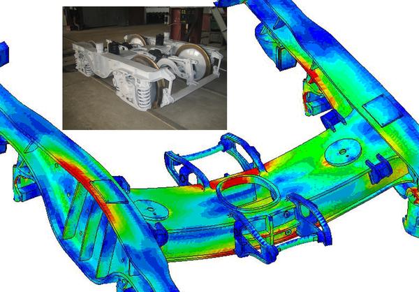 Напряженно-деформированное состояние конструкции при статическом анализе рамы тележки (ЗАО «ВКМ-Инжиниринг»)