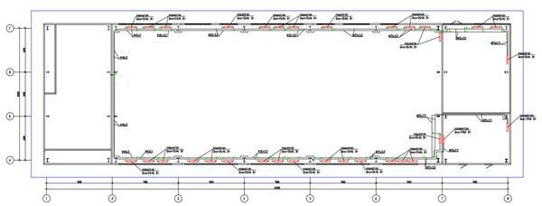 Пример плана системы отопления здания, полученный преднастроенной проекцией «ОВ-Отопление-План-Схема (М 100)»
