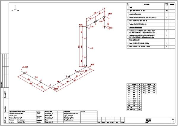 Изометрический чертеж, сгенерированный в Model Studio CS Отопление и вентиляция