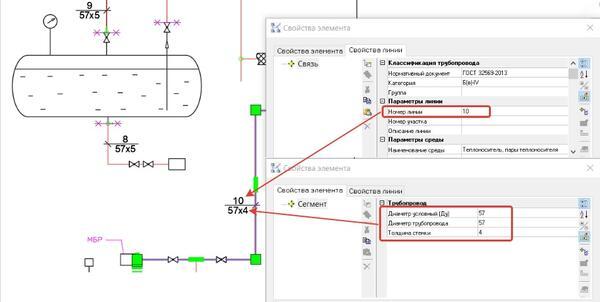 Пример формирования обозначения линии на основе заданных параметров