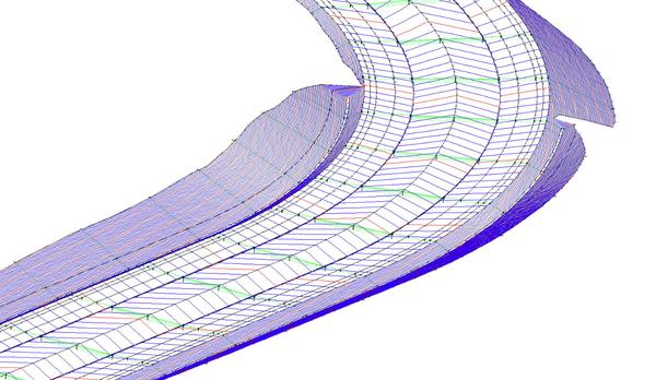 3D-вид трассы с отрисовкой горизонталей