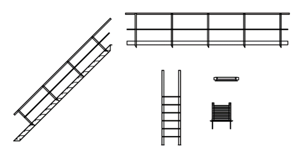 Рис. 11. Лестницы, площадки, стремянки и ограждения