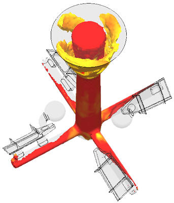 СКМ ЛП «ПолигонСофт», характер заполнения формы при центробежном литье