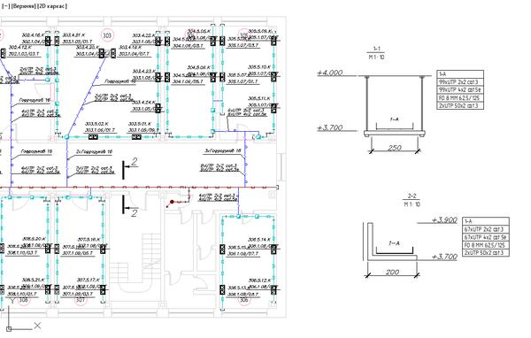 Рис. 6. Project StudioCS СКС. Сечения лотков