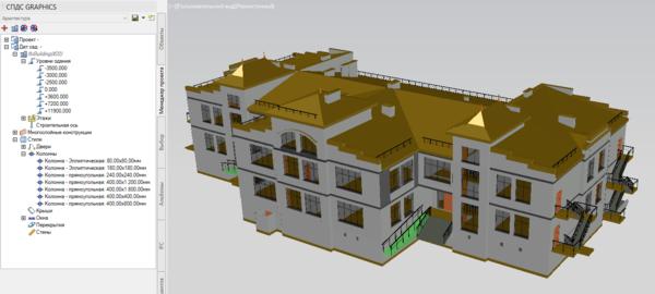 Архитектурная модель, импортированная в AutoCAD