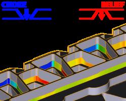 Зоны отрицательных (синий цвет) и положительных (красный цвет) уклонов поясков вследствие деформации инструмента